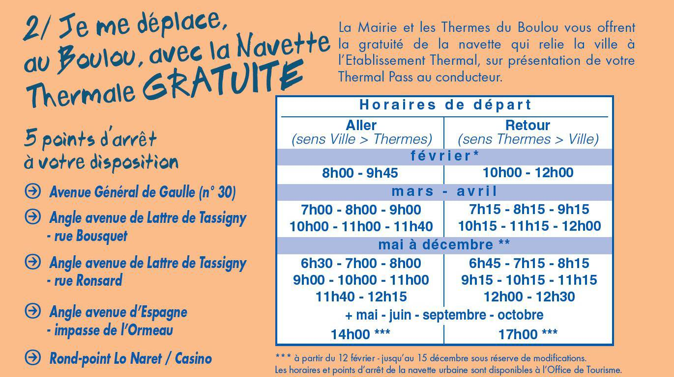 Horaires navette thermale